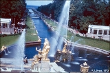 Fountains on a canal  in Peterhof, leading to the Gulf of Finland