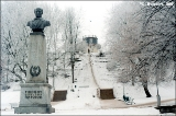 Bust of the Russian medical celebrity  Pirogov and a view of the English Garden from below, Tartu...