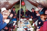 Dinner inside a camping tent in the Pamir Mountains