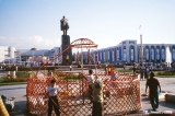 Disassembling yurts on Ala Too Square after the celebration of Kyrgyz Independance Day in Bishkek