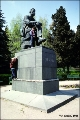Children climbing the monument to Chekhov in Yalta
