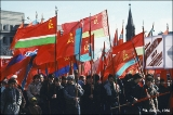 Carrying flags during the May Day parade in Irkutsk