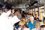 "Daytrippers on an electrical commuter train (""electrichka"") returning to Saint..."