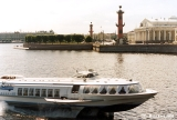 Hydrofoil on the Neva River, with the Rostral Columns and Stock Exchange at the right and the...