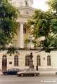 Institute of Russian literature (Pushkin House) with the monument to Pushkin in the foreground on...
