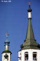Bell tower and cupolas of the Church of the Holy Cross in Irkutsk