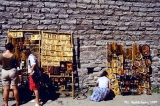 Selling souvenirs on a street in the old city of Tallinn