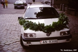 Car decorated for a wedding in Riga