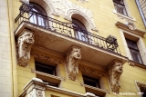 Turn of the century Jugendstil (art nouveau style) balcony and  facade in Riga