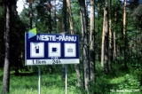 "Road sign for a ""Neste"" gas station near Parnu in Estonia"