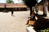 Cobblestone square in the port town of Ventspils