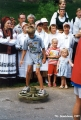 "Boy balancing on a wagon wheel at the Viru Saru International Folk Festival in ""Estat..."