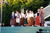 """Scandinieki,"" the first Latvian folk group, performing at the Baltica Folk Festival in..."