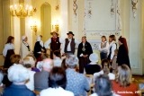 """Skandinieki,"" the first Latvian folk group, performing in the Latvian Society House at..."
