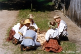 Child participants in the Baltica Folk Festival playing a game at the ethnographic open-air museum...