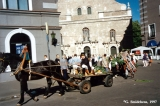 Carriage with stones brought to the Baltica Folk Festival in Riga to mark an ancient Latvian...