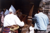 Demonstration of the traditional Latvian cheese-making process to participants in the Baltica Folk...