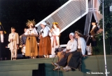 Latvians playing the kokle, a traditional Latvian string instrument, at the Baltica Folk Festival...