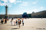Alexander's Pillar under construction on Palace Square in St. Petersburg, with the former Building...