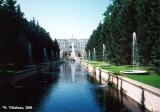 Fountains on the canal in Peterhof which leads to the Gulf of Finland