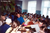 Children having lunch in a summer camp in the town of Dyatkovo