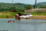 Car washing and swimming near Nakhodka Bay
