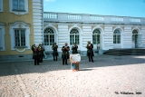 Musicians in period costumes performing in Peterhof
