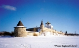 Pskov fortress with the Holy Trinity Cathedral in winter