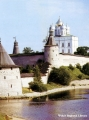 Pskov fortress with the Holy Trinity Cathedral on the Velikaya River