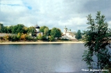 Ancient Russian Orthodox churches on the shore of the Velikaya River in Pskov