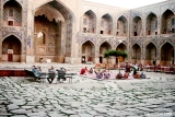 Inner courtyard of the Shir-Dor Medresse, an Islamic school on the Registan Plaza in Samarkand