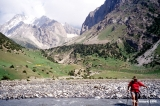 Crossing the Orto Chashma River in Kyrgyzstan
