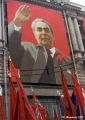Portrait of Leonid Brezhnev, First Secretary of the Soviet Union in the 1960s and 1970s, and flags...
