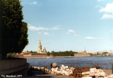 Debris on the embankment of the Neva River with the Peter and Paul Fortress in the background