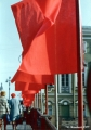 Flags on a bridge across the Moyka Canal during a parade honoring the 60th anniversary of the...