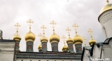Cupolas on the Church of the Deposition of the Robe in the Moscow Kremlin