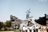 Monuments to Mother Russia and to a fallen soldier on Mamaev Hill, a memorial complex dedicated to...