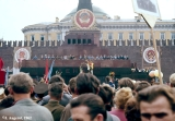May day parade on Red Square in Moscow with members of the Soviet government (Politbiuro) in...