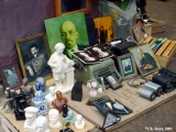 Potraits and sculpture of Lenin, Stalin and other prominent Soviet figures offered for sale at the...