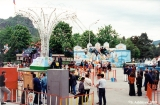 Amusement rides in front of the Mayor's headquarters in Karachaevsk