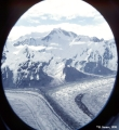 Confluence of North and South Engilchek Glaciers seen through a helicopter window