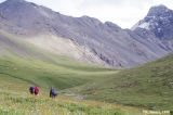 Hikers in the upper Tuyuk Asha Valley