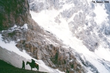 Horse with a rider near the top of the Aktubek Pass