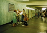 Musicians playing inside a subway station in Moscow