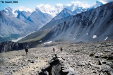 Hikers descending Karatiurek Pass, Altai Mountains