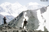 Hikers at the top of Karatiurek Pass,  Altai Mountains