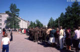 Line to the United States cultural exchange exhibit in Irkutsk