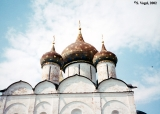 Cupolas of the Cathedral of the Nativity in the Suzdal Kremlin.