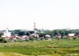 Distant view of Suzdal with the Preobrazhensky bell tower of the Monastery of the Deposition of...