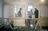 Russian refugees from Kazakhstan restoring a church in the market quarter of Suzdal